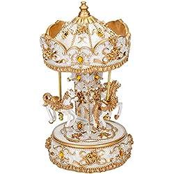 Elanze Designs Gilded Gold Tone Horses Musical Carousel 10 Inch Rotating Figurine Plays Tune Waltz