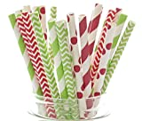 Merry Christmas Gift Straws, Holiday Favors, Cake Pop Sticks, Christmas Decorations, Candy Cane Red Stripe & Christmas Tree Green Straws (Pack of 25)