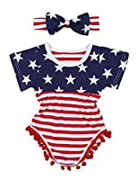 4th of July Toddler Baby Girl Romper American Flag Stars Stripes Pompom Tassel Balls + Headband