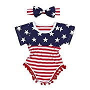 4th of July Toddler Baby Girl Romper American Flag Stars Stripes Pompom Tassel Balls + Headband(6-12 Months)