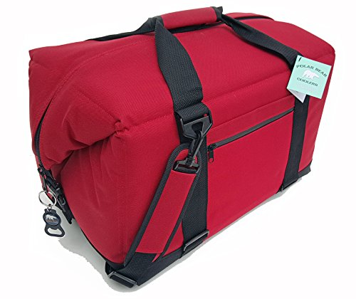 (Polar Bear Coolers - Nylon Line - Quality Like No Other from The Brand You Can Trust - See Touch & Feel The Polar Bear Difference - Patent Pending - 48 Pack Red)