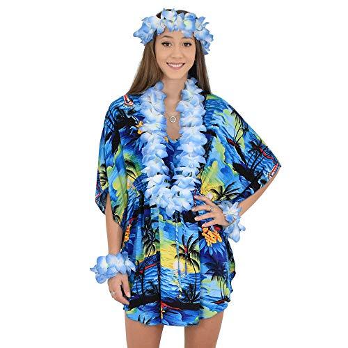 ISLAND STYLE CLOTHING Poncho + Lei Set (Blue