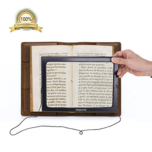 Magnifier Magnifying Glass LED Lighted Illuminated Hands Free Large Rectangular Full Page Foldable3X Desktop Portable For Elder (Illuminated Magnifying)