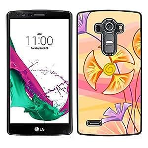 Flores Cartooned - Metal de aluminio y de plástico duro Caja del teléfono - Negro - LG G4