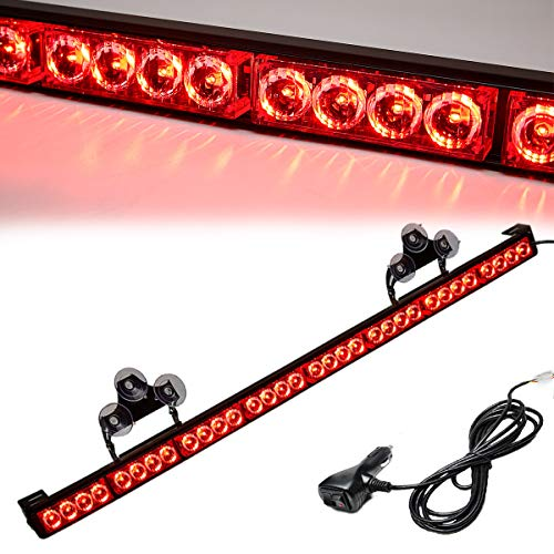 Red Emergency Strobe Light Bar 36 Inch 13 Flash Patterns Traffic Advisor Warning Hazard Windshield Light Bar Safety Lights with Cigar Lighter for Police Vehicles, Cops Truck (35.5 Inch,Red 32 Led)