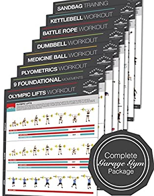 """Complete Garage Gym Laminated Poster Set of 8 / Chart - Strength & Cardio Training - Core - Chest - Legs - Shoulders - Back - Build Muscle, Tone & Tighten - 18""""x24"""""""