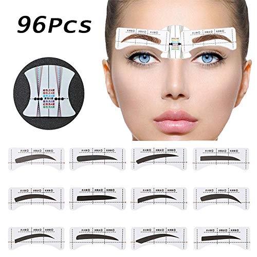 EBANKU 96Pcs Eyebrow Stencil 48 Pairs Eyebrows Shape Stickers Shaping Template Eyebrows Grooming Stencil Kit with 6 Reusable Connection Card DIY Makeup Guide Template Tools