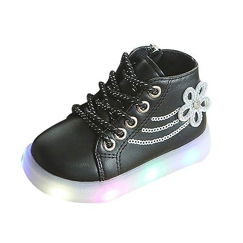 Zapatos Bebé K-youth Zapatillas Niños LED Luz Sneakers Luminous Chica Chico Flores Zapatillas Unisex