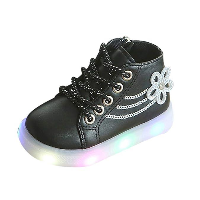 Zapatos Bebé K-youth Zapatillas Niños LED Luz Sneakers Luminous Chica Chico Flores Zapatillas Unisex Niños Zapatillas de Deporte con Cordones Botas Niña ...