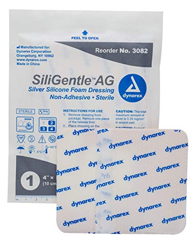 Dynarex Siligentle Ag Sterile Silver Silicone Foam Dressing for Wound Care Non Adhesive, 4