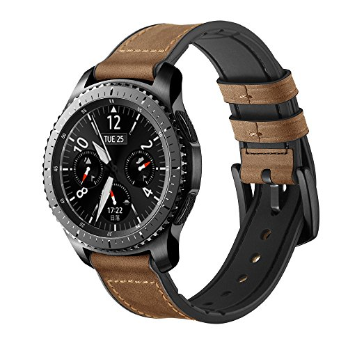 Maxjoy Compatible with Galaxy Gear S3 Watch Bands 46mm, 22mm Hybrid Sports Band Vintage Leather Sweatproof Strap with Metal Clasp Compatible with Gear S3 Frontier/Classic Smart Watch Dark Brown
