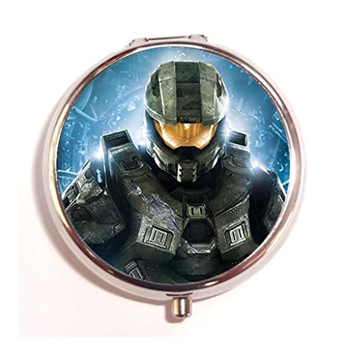 Halo Master Chief Custom Round Silver Pill Case Medicine Tablet Vitamin Organizer Box (Halo The Masterchief)