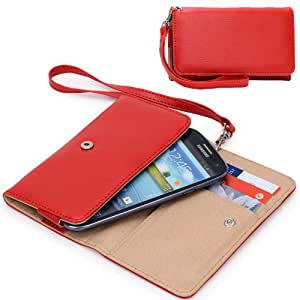 EXXIST® Classic Design Patent Leather Wallet / Clutch for Samsung SGH-N075T Galaxy J (Color: Red) -ESMXWLR1