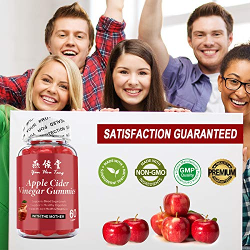 Yan Hou Tang Organic Apple Cider Vinegar Gummy Vitamins for Weight Loss Belly Control Detox Cleanse Support with Vitamin B6, B12-60 Gummies
