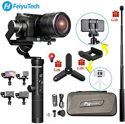 (Feiyu G6 Plus 3-Axis Brushless Handheld Gimbal Stabilizer (Extension Bar Tripod Adapter) Splash-Proof 800g Payload 12 Hours Running Time for Smartphone/Action Camera Gopro/Digital Cameras )