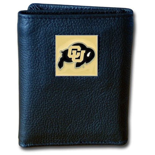 Siskiyou NCAA Colorado Buffaloes Deluxe Leather Tri-fold Wallet - Colorado Buffaloes Mens Leather