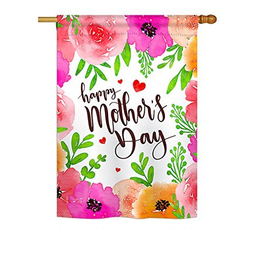 Angeleno Heritage H137053 Colorful Happy Summer Mother's Day Decorative Vertical House Flag, 28″ x 40″, Multicolor For Sale