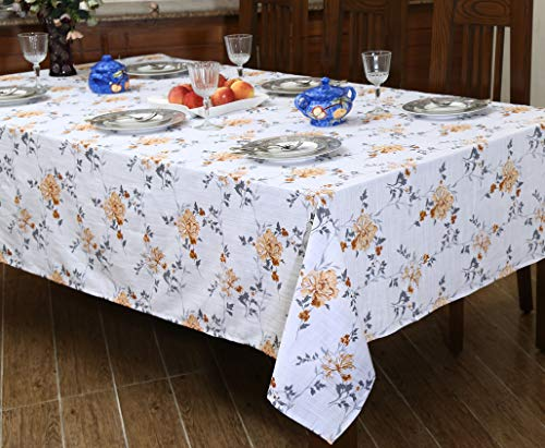 """Ruvanti Table Cloth (60X104"""") 8-10 Seats Wrinkle Free 100%Cotton Rectangle Tablecloth Washable/Reusable. White & Fall Color Table Cloths Table Cover for Christmas/Thanks Giving Dinners. - 【Premium Quality Wrinkle Proof Fabrication 】 Constructed with Top Notch Quality 100 % Organic Cotton Duck Weave Fabric which is more Wrinkle-Proof and Shrink-Proof than any other Cotton Fabrics. Edges are hemmed and sewn with mitted corners as the way table cloths were sewn in the old classic time. 【Elegant Colors Perfect For Indoor & Outdoor 】Ruvanti's colorful and vibrant pattern brings new life into your table linen. These color patterns bring Charm in Tablecloth and Blow a Fresh Breeze Into your dinning room. Their seamless one piece design makes it a great tablecloth for indoor and outdoor use. Printed with Charm full colors these tablecloths appears a sense of modern style, great for decorating your dining room, or any indoor event & outdoor Pool / BarBQ Parties. 【Multi Purpose Utilization】Ruvanti's excellent premium quality table cloth is of best for use both in business such as restaurants /hotels and or home settings; these are brilliant as table covers for indoor and outdoor use, patio, gardens, kitchen room, dining room, and family room. Comes in different sizes these are great if you are hosting any weeding, birthday party, Cocktail party, Christmas or Thanksgiving dinner. - tablecloths, kitchen-dining-room-table-linens, kitchen-dining-room - 51VHFoc0BJL -"""
