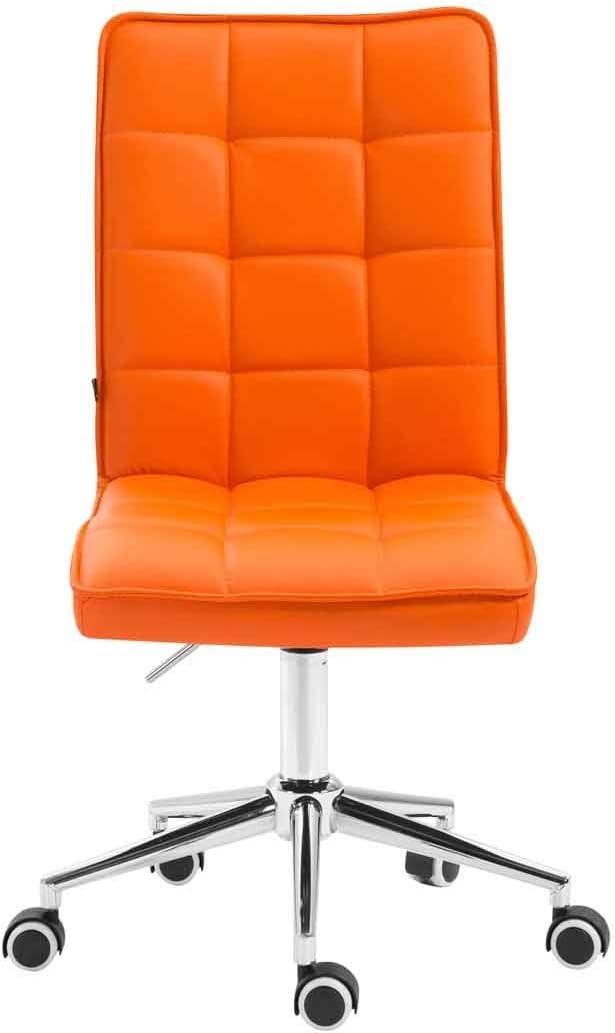 CLP Tabouret De Travail A roulettes Peking V2 Similicuir I R/églable en Hauteur Et Pivotant I Fauteuil De Travail Design avec Dossier Orange