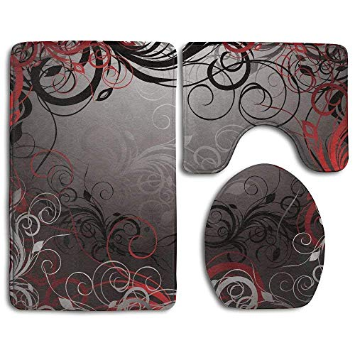 Bathroom Rug Red and Black Mystic Magical Forest Inspired Floral Swirls Leaves 3 Piece Bath Mat Set Contour Rug and Lid Cover