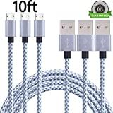 ONSON Android Charger Cable,3Pack 10FT Extra Long Nylon Braided High Speed 2.0 USB to Micro USB Charging Cord Fast Charger Cable for Samsung Galaxy S7/S6/S5/Edge,Note 5/4/3,HTC,LG,Nexus(Gray White)