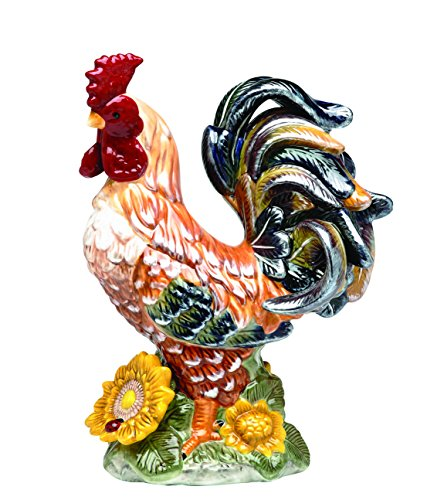Pacific Breasted Ceramic Rooster Home Accent Décor, 15.5