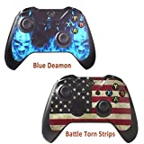 xbox game remote - 2pcs Skins Stickers for Xbox One Games Controller - Custom Xbox 1 Remote Controller Wired Wireless Protective Vinyl Decals Cover - Leather Texture Protector Accessories - Battle Torn Strip&Blue Daemon