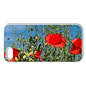 Springtime Poppies - Case Cover for iPhone 5 and 5S (Flowers Series, Watercolor style, White)