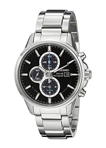 Seiko Men s Silvertone Stainless Steel Solar Alarm Chronograph Watch