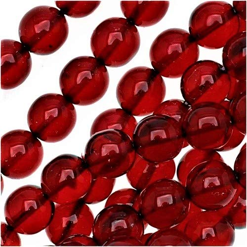 (UnCommon Artistry 8mm Ruby Red Round Czech Glass Druk Beads (50)