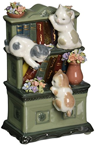 Musical Christmas Candle - Cosmos 80095 Fine Porcelain Catch Me If You Can Cat Musical Figurine, 6-Inch