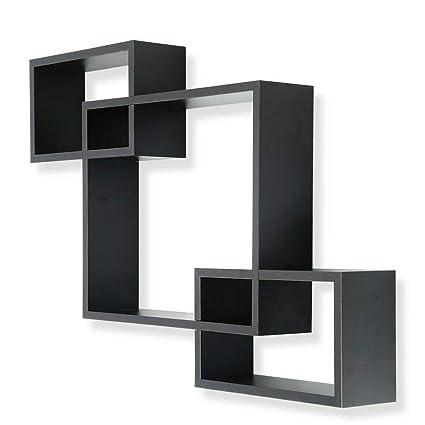 Amazoncom Black Intersecting 3 Rect Box Floating Shelf
