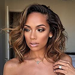 Wicca 180% Thick Ombre Short Curly Brown Lace Front Wigs Side Part Natural Curly Brazilian Human Hair Lace Front Wig With Baby Hair Pre Plucked (8inch 180%, Lace front wig)