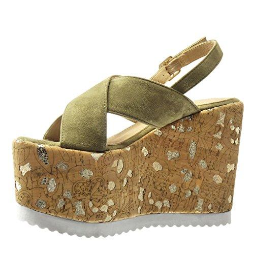Angkorly Chaussure Mode Sandale Mule Plateforme Femme Liège Fantaisie Doré Talon Compensé Plateforme 12.5 CM - Vert