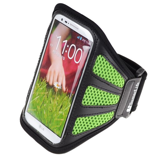 SumacLife Meshy Cycling Jogging Armband Case for LG G2 (Green and Black) (Iphone 5s 32gig Unlock)