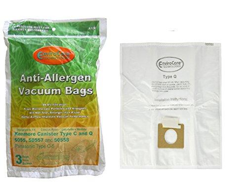 6 Kenmore HEPA Canister Sort C, Q, 50558 50555 50557 Sears Anti-Allergen Vacuum Bags by EnviroCare