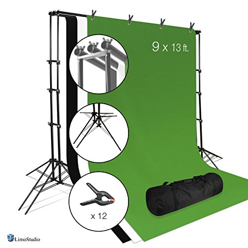 LimoStudio Photo Video Studio 6 Legs Background Stand Backdrop Support System Kit with Carry Bag for Photography, Black, White, Green, Premium Quality Backdrop, AGG2671 (Photo Premium Quality Studio)