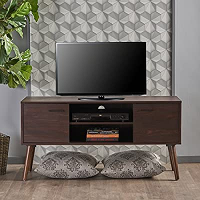 Christopher Knight Home Amarah Mid-Century Modern FiberboardEntertainment Center, Walnut Finish - Included Components: Cabinet;Living Room Furniture;Tv Stands/Entertainment Centers;Home-Entertainment-Centers - tv-stands, living-room-furniture, living-room - 51VHHZwh0lL. SS400  -