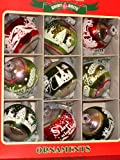 Radko Shiny Brite~ Greens & Red Flocked Ornaments with Glitter Set of 9