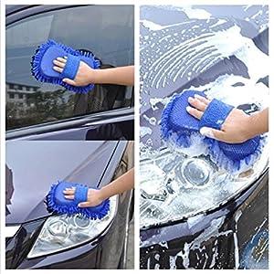 OrliverHL Microfiber Car Wash Clean Sponge Coral Chenille Fiber Car Wash Gloves Hand Brush Sponge Pad Cleaning Tool