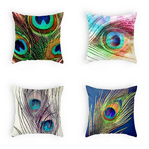 OATHENE Set of 4 Decorative Throw Pillow Covers,Colorful Peacock Feathers Cotton Linen Sofa Bedroom Car,Home Decor,18 x 18 Inch.1340