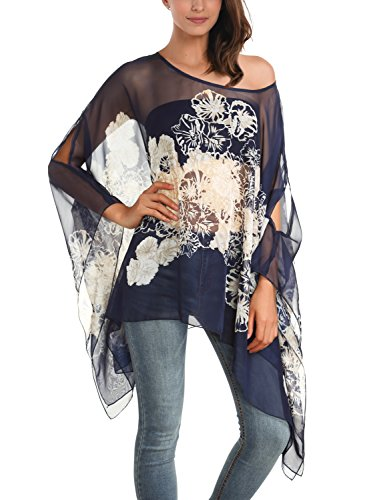 DJT Women's Floral Printed Chiffon Caftan Poncho Tunic Top One Size Blue #2