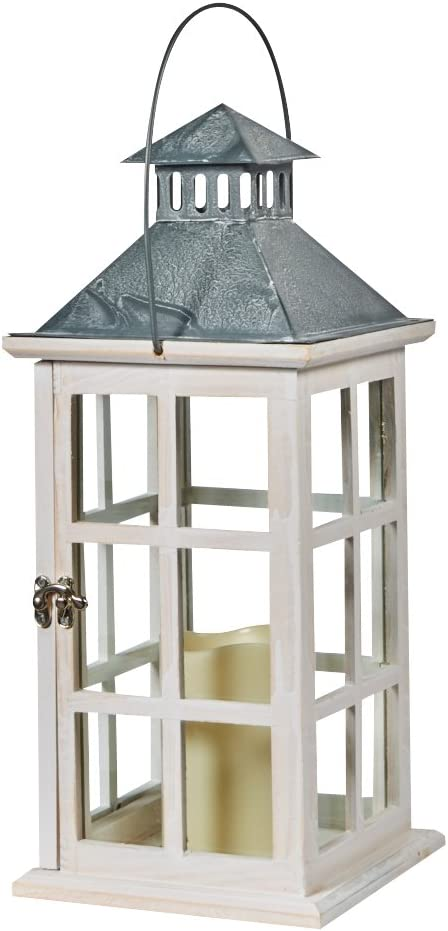 Smart Design 84068-LC Camden Lantern with LED Candle, Antiqued White Frame with Amber LED Light, Crafted From Wood with Tin Top and Glass Panes