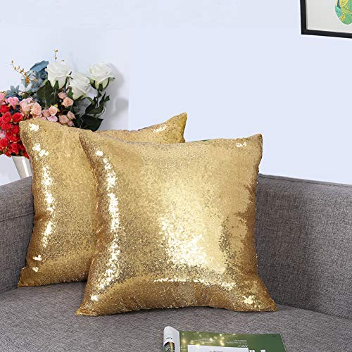 Eternal Beauty Set of 2 Sequin Decorative Pillow Cover Gold Throw Pillow Covers for Couch Sofa Throw Pillows 18 X 18 Inches (Pillows Throw Gold)