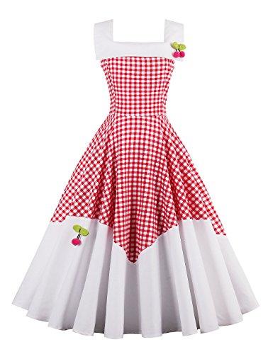 Vestido de cuadros VKStar® Rockabilly, estilo Vintage sin mangas, con cerezas, vestido de noche Rojo