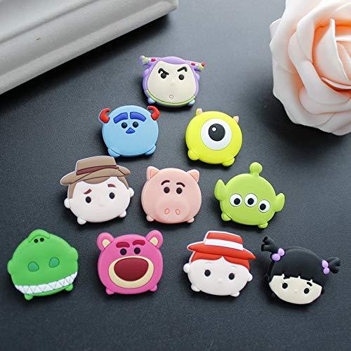 ZAMTAC 10 PCS Buzz Woody Toy Story Bear Mike Soft Flat Back PVC Figures DIY Gadgets Fit Bracelets Shoe Charms pins Badges Children Gift