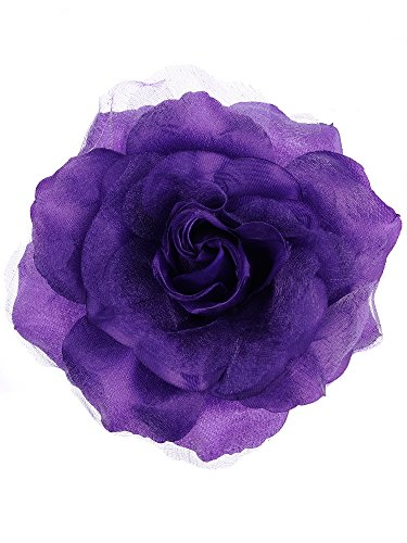 (NYFASHION101 Women's Multifunction Rose Flower Sheer Petal Brooch Pin Hair Tie Clip, Purple)