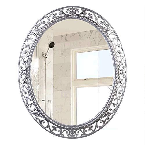 Oval Bathroom Mirror, Art Deco Mirror, Wall Mirror, Retro Three-Dimensional Embossed Border, Environmentally Friendly Resin, Waterproof, Moisture-Proof, Anti-Corrosion, Silver (56 X 67 ()