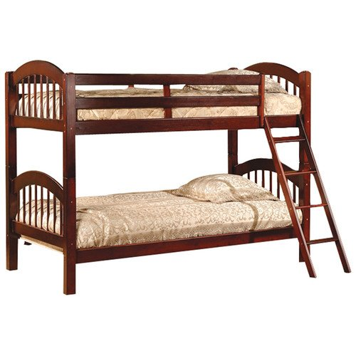 Twin Over Twin Bunk Beds - Cherry Finish, Constructed of Solid Hardwoods and Veneers