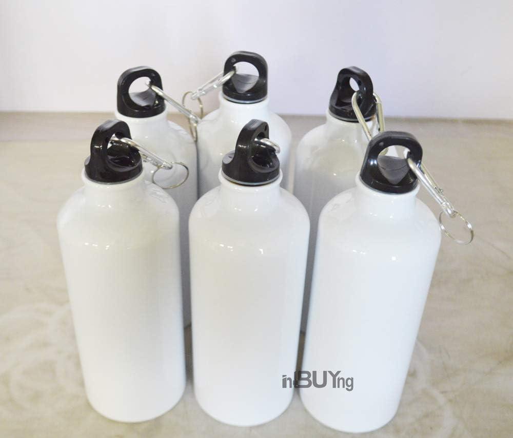 INTSUPERMAI 6 pcs Blank Coated Sublimation 600ml Aluminium Water Bottle-White Sublimation Transfer